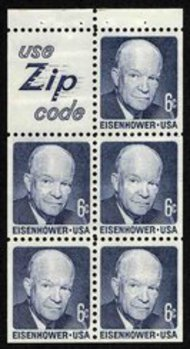 1393b 6c Eisenhower, Booklet Pane of 5 Slogan 5 F-VF Mint NH 1393bs5