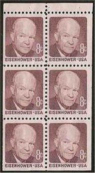 1395b 8c Eisenhower, Booklet Pane of 6 F-VF Mint NH 1395bnh