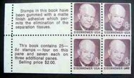 1395c 8c Eisenhower, Booklet Pane of 4 F-VF Mint NH 1395cnh