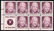 1395d 8c Eisenhower, Pane of 7, Slogan 4 F-VF Mint NH 1395ds4
