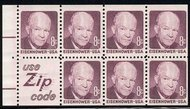 1395d 8c Eisenhower, Pane of 7, Slogan 5 F-VF Mint NH 1395ds5