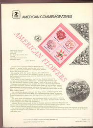 1876-79 18c American Flowers USPS Cat. 140  Commemorative Panel cp140