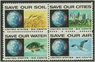 1410-3 6c Anti-Pollution 4 Singles F-VF Mint NH 1410sgl
