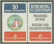 1421-2 6c D.A.V. Servicemen Attached pair F-VF Mint NH 1421nh