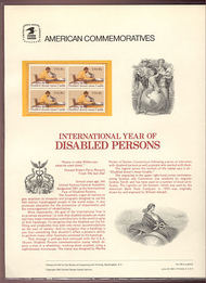 1925 18c Disabled Persons USPS Cat. 146 Commemorative Panel cp146