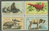 1464-7 8c Wildlife Attached block of 4 F-VF Mint NH 1464nh