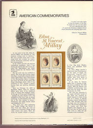 1926 18c Edna St. Vincent Millay USPS Cat. 147  Commemorative Panel cp147