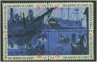 1480-3 8c Boston Tea Party Attached block of 4 Used 1480-3attu