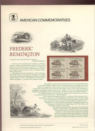 1934 18c Frederic Remington USPS Cat. 151  Commemorative Panel cp151
