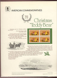 1940 20c Christmas 'Teddy Bear' USPS Cat. 153  Commemorative Panel cp153