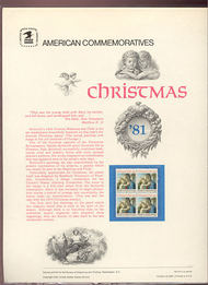 1939 20c Christmas Madonna USPS Cat. 154  Commemorative Panel cp154