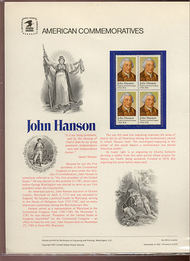 1941 20c John Hanson USPS Cat. 155 Commemorative Panel cp155