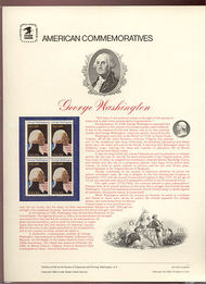 1952 20c G. Washington  USPS Cat. 159  Commemorative Panel cp159