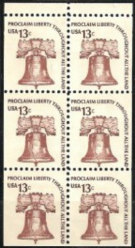 1595a 13c Liberty Bell , Booklet Pane of 6 F-VF Mint NH 1595nh