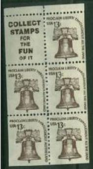 1595d 13c Liberty Bell , Booklet Pane of 5 F-VF Mint NH 1595d