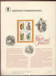 1953-2002 20c Birds & Flowers USPS Cat. 160 Commemorative Panel cp160