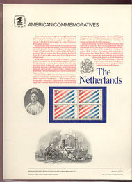 2003 20c Netherlands USPS Cat. 161 Commemorative Panel cp161