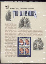 2012 20c Barrymores USPS Cat. 166 Commemorative Panel cp166