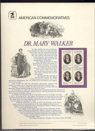 2013 20c Dr. Mary Walker  USPS Cat. 167 Commemorative Panel cp167