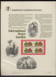 2014 20c Int. Peace Garden USPS Cat. 168 Commemorative Panel cp168