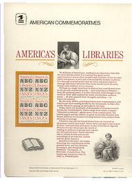 2015 20c America's Libraries USPS Cat. 169 Commemorative Panel cp169