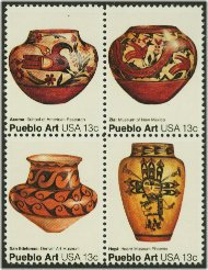 1706-9 13c Pueblo Art attached block of 4 F-VF Mint NH 1706nh