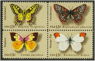 1712-5 13c Butterflies Attached block of 4 F-VF Mint NH 1712nh
