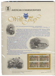 2018 20c Wolf Trap USPS Cat. 173 Commemorative Panel cp173