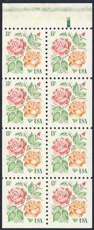 1737a 15c Roses, Booklet Pane of 8 F-VF Mint NH 1737anh