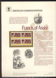 2023 20c Francis of Assisi USPS Cat. 174 Commemorative Panel cp174