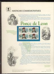 2024 20c Ponce de Leon USPS Cat. 175 Commemorative Panel cp175