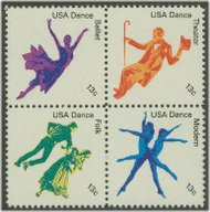 1749-52 13c American Dance F-VF Mint NH Plate Block of 12 1749pb