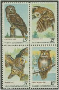 1760-3 15c American Owls Attached block of 4 F-VF Mint NH 1763nh