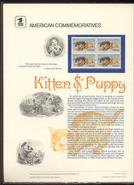 2025 13c Kitten & Puppy USPS Cat. 178 Commemorative Panel cp178