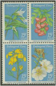 1783-6 15c Endangered Flora 4 Singles F-VF Mint NH 1783sing