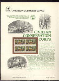2037 20c Civilian Conservation USPS Cat. 182  Commemorative Panel cp182