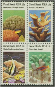 1827-30 15c Coral Reefs Attached block of 4 F-VF Mint NH 1827nh