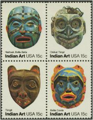 1834-7 15c Indian Masks 4 Singles F-VF Mint NH 1834sing