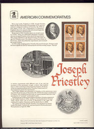 2038 20c Joseph Priestley USPS Cat. 184 Commemorative Panel cp184