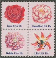 1876-9 18c American Flowers 4 Singles F-VF Mint NH 1876sing