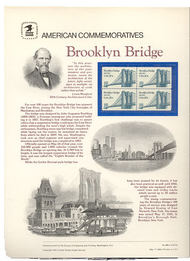 2041 20c Brooklyn Bridge USPS Cat. 188 Commemorative Panel cp188