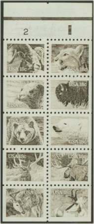 1889a Booklet Pane of 10 18c Wildlife F-VF Mint NH 1889anh