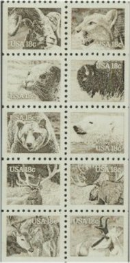 1880-9 18c Wildlife F-VF Mint NH Attached block of 10 1880nh