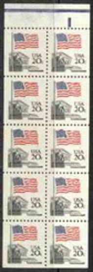 1896b 20c Flag Booklet Pane of 10 F-VF Mint NH 1896bnh