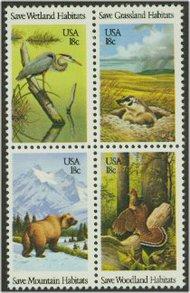 1921-4 18c Wildlife Habitats 4 Singles F-VF Mint NH 1921sing