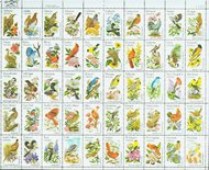1953-2002 Birds & Flowers 50 Singles Perf 10.5 x 11.25 F-VF Mint 1953sing