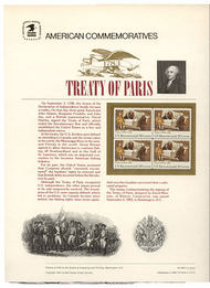 2052 20c Treaty of Paris USPS Cat. 196 Commemorative Panel cp196