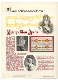 2054 20c Metropolitan Opera  USPS Cat. 198 Commemorative Panel cp198