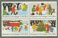 2027-30 20c Christmas Scenes Attached block of 4 F-VF Mint NH 2027nh