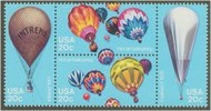2032-5 20c Balloons Attached block of 4 F-VF Mint NH 2032nh